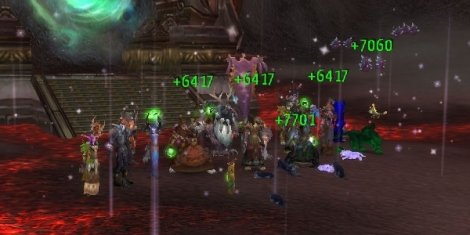 Assorted druids in a raid hosted by Team Waffle.